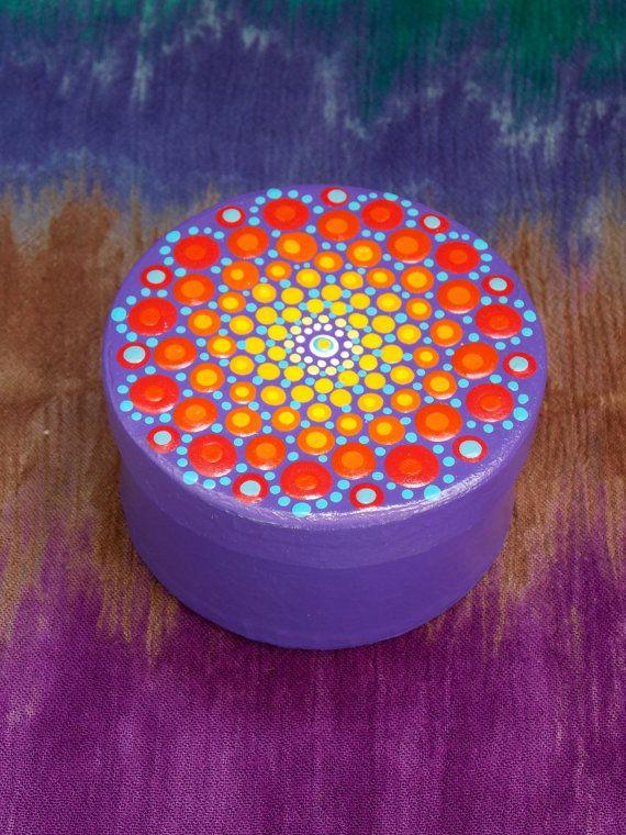 ESTABLECER punto Mandala del sol Mandala piedra y caja de