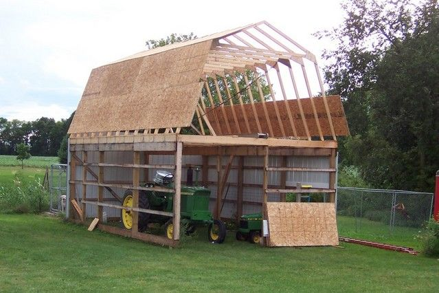 16 x 24 gambrel roof shed plans google search shop and for Shed roof pole barn plans
