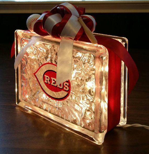 CINCINNATI REDS Baseball Lighted Glass Block Nightlight and Decor