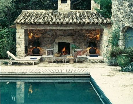 pool and fireplace