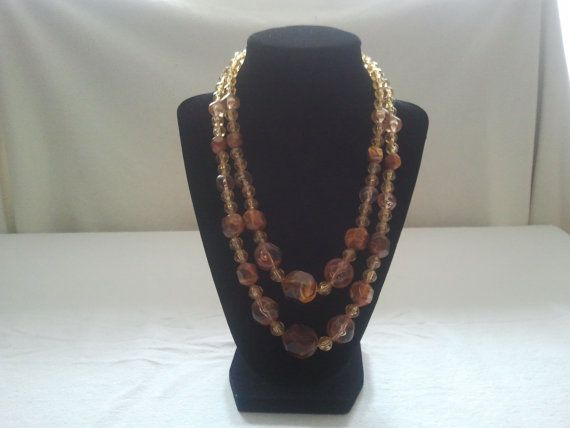 Vintage 2 Strand Plastic Amber Necklace by Theforgottenfrog, $14.97