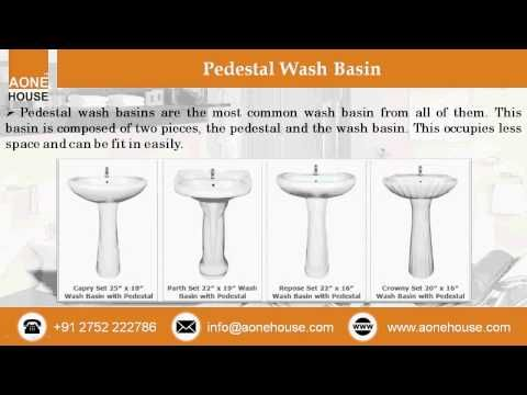 Watch out this video about All Types of Wash Basin Sanitarywares by www.aonehouse.com. Aone House offers discounted rates ceramic wash basin with sticker series consisting of 2065 sticker wash basin, 2060 sticker wash basin, 2059 sticker wash basin, 2058 sticker wash basin. One of familiar wash basin among them is Pedestal wash basin, which is a combination of two pieces, the pedestal and the wash basin.