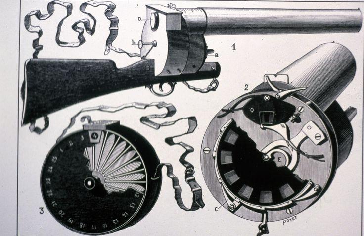 """A espingarda fotografica, inventa por Étienne-Jules Marey foi usada para estudar fisiologia.  """"Esta gravura representa os mecanismos deste aparelho. 1 – vista do conjunto do aparelho com as dimensões de arma de caça 2 – Vista do obturador e do disco controlado por um sistema de relojoaria permitia 12 imagens sucessivas. Este tinha uma velocidade de obturação de 720/segundo 3 – Caixa que permitia o transporte das 25 placas""""  Esta inovação contribuiu para a evolução da história do cinema."""