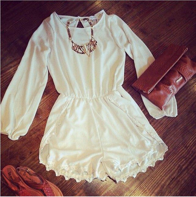 autumn jumpsuit Siebel brand 2015 fashion sleeve crochet  white chiffon irregular loose monos for women rompers lady coveralls