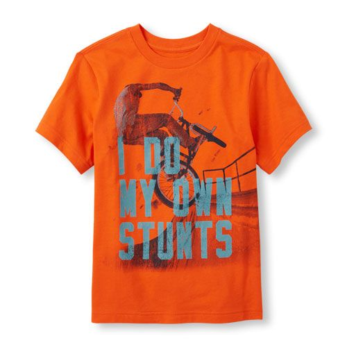 s Boys Short Sleeve 'I Do My Own Stunts' Bike Graphic Tee - Orange T-Shirt - The Children's Place
