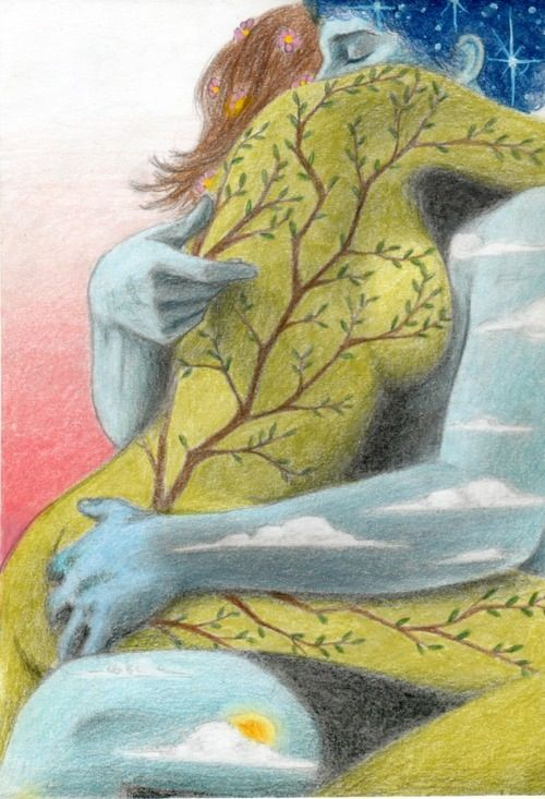Mother Earth  in a Sacred, Nurturing Embrace with Father Sky ~