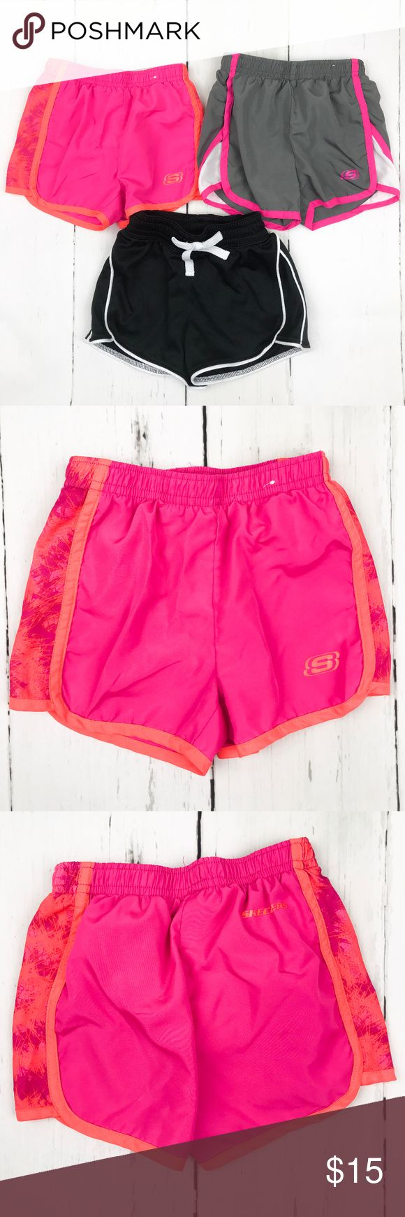 Girls Bundle of 3 Activewear Shorts Size 4 This listing is for the bundle of 3 active wear shorts in a size 4.   Pink Skechers Shorts- lined, size 4, 100% polyester Gray Skechers Shorts- lined, size 4, 100% polyester Black bcg Shorts- unlined, Size XXS (4-5), 100% polyester  This bundle is great for playing soccer, or just having a casual play option for your toddler! These running shorts are versatile and comfortable and perfect for warmer weather and the summer! They layer great over…