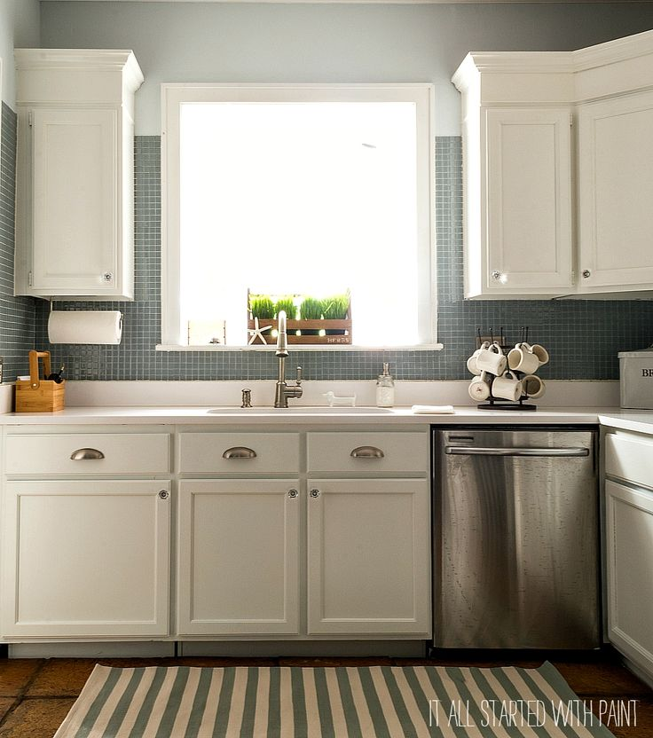 Builder Grade Kitchen Makeover with White Paint ...