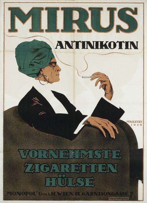 """Mirus Antinikotin [Zigarettenpapier] Vornehmste Zigaretten Hülse """"Monopol"""" GmbH Wien IX, Garnisongasse 7. Entwurf sign. Malliczky (=Mara Schrötter-Malliczky), Österreich 1919. Druck August Matthèy, Graz."""