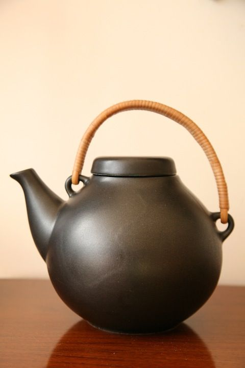 Ulla Procope; Cane and Glazed Ceramic Teapot for Arabia, 1953.