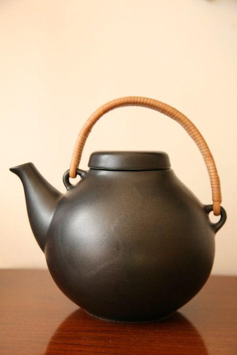 Ulla Procope; Cane and Glazed Ceramic Teapot for Arabia, 1953.