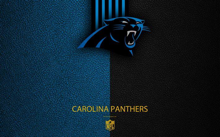 Download wallpapers Carolina Panthers, 4k, American football, logo, emblem, Charlotte, North Carolina, USA, NFL, blue black leather texture, National Football League, Southern Division