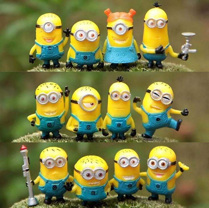 New Toy Set Despicable Me 2 Minions In Action Figures Minions Toys Doll Retail Lovely Plush Toys Girls Gifts