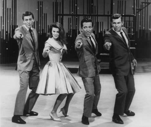 """Dick Van Dyke, Ann Margret, Andy Williams and Andy Griffith give a smash finish to their production number of """"Lot of Living"""" during a May 4, 1962 broadcast of """"The Andy Williams Show."""""""