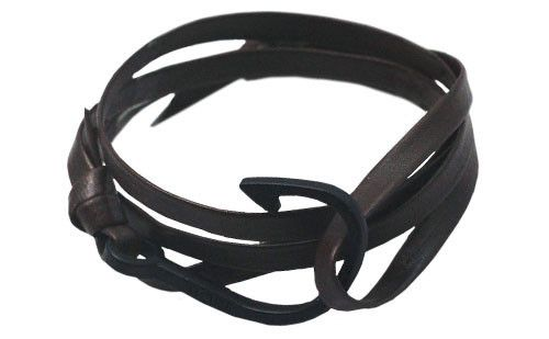 The Dansk Chocolate Leather Fish Hook Bracelet #leather #bracelet #accessories #menswear  Check out this: http://dappervigilante.com/