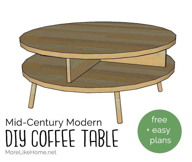 DIY Mid-Century Modern Round Coffee Table (Day 12)