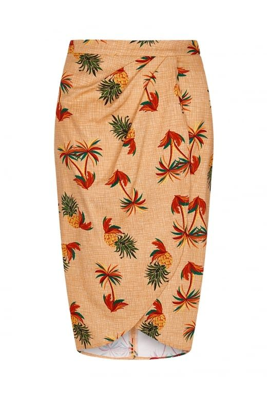 Collectif Mainline Kala Pineapple & Palm Sarong Skirt