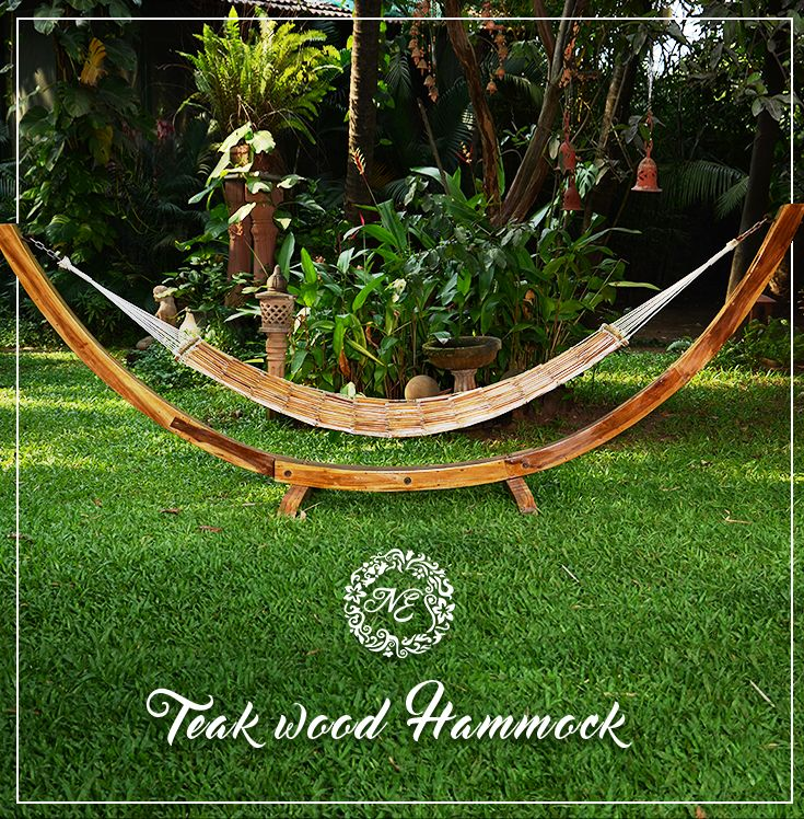 This treated teak wood hammock stand with interlocked wooden hammock looks staggering when placed in the outdoors and is very comfortable too.  To Enquire whatsapp: +91 8390367688 #nostalgiaenterprises #treated #teak #wood #hammock #stand #staggering #outdoors #furniture #comfortable