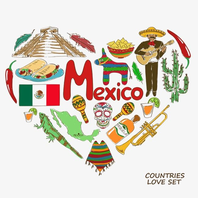 Mexico Heart Shaped Elements Png And Clipart Mexican Culture Art Mexican Art Painting Mexico