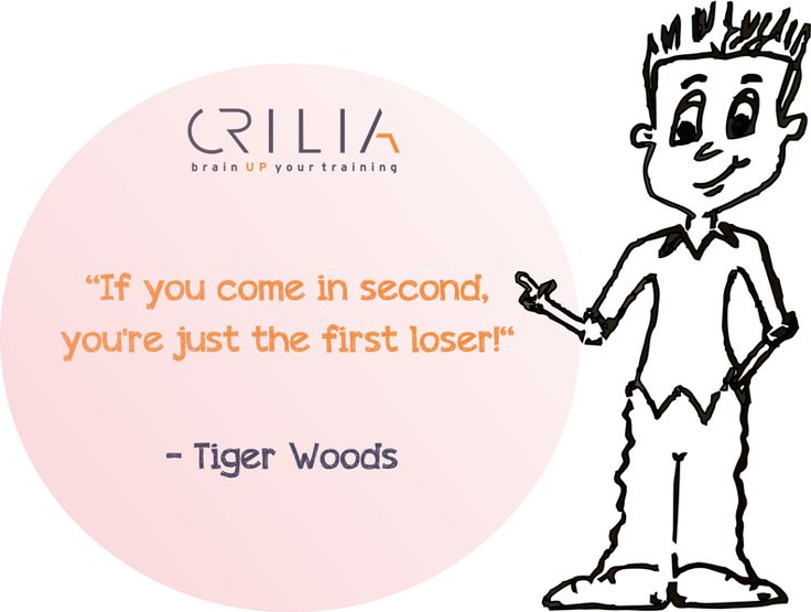 If you come in second, you're just the first loser.  www.crilia.ro