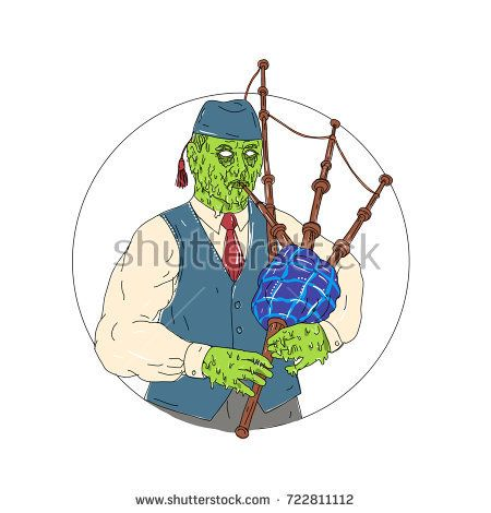Grime art style illustration of a Zombie Piper Playing Bagpipes  viewed from front set inside circle on isolated background.  #bagpiper #grimeart #illustration