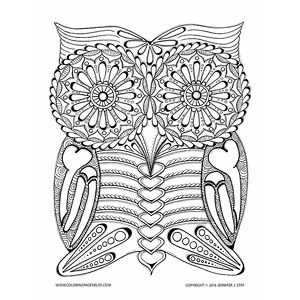 Simple Owl Coloring Pages For Adults