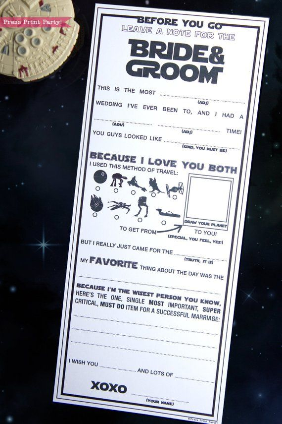 Star Wars Wedding Mad Libs Printables, Marriage Advice Cards, Nerd Wedding, Geek Wedding, Scifi, Guest Book Madlibs, May 4, INSTANT DOWNLOAD