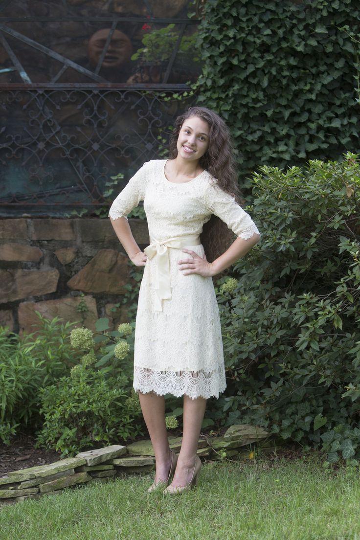 Dainty Jewell's Modest Apparel | A Night in Paris Dress in Cream | Modest Fashion | Bridesmaid Dresses | Weddings | Ruffles & Lace | www.daintyjewells.com