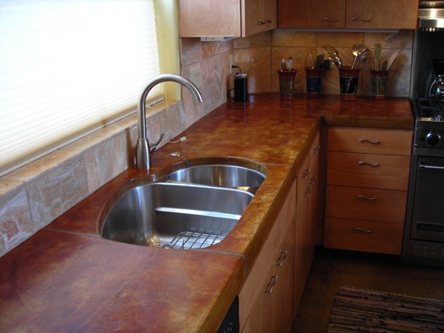 Concrete Countertop, Double Sink. Like The Color And Sick