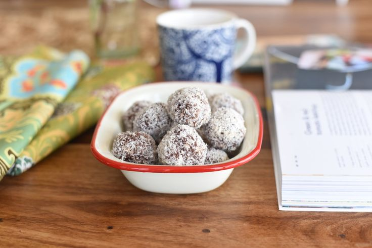 #Thermomix Cherry Ripe Bliss Balls (try with dried cherries for lowered sugar content? maybe reduce the coconut oil if doing so?)