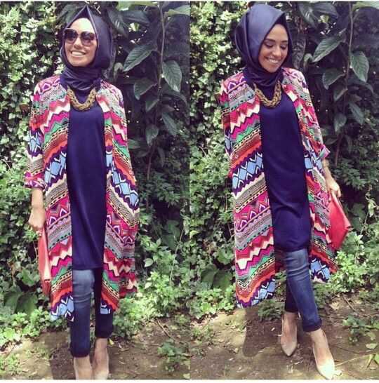 Hijabi fashion. Bold print cardigan.