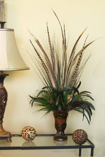 Pheasant feather arrangements beautiful elegant