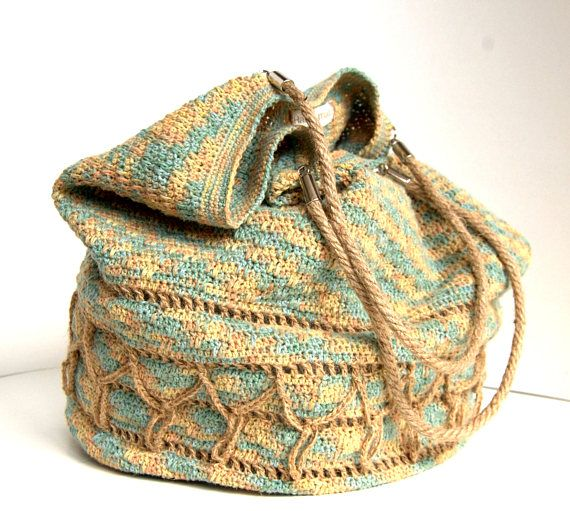 Crochet linen shoulderbag bag  Linen and hemp bag