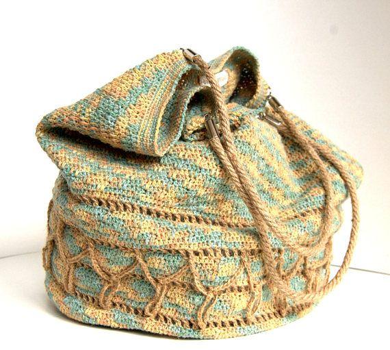 Crochet linen shoulderbag bag  Linen and hemp bag