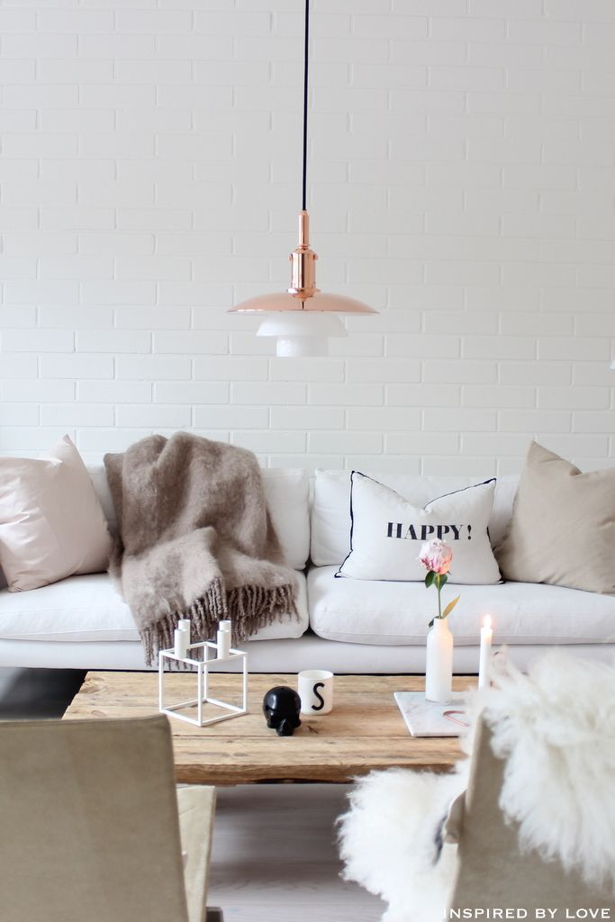 nordic living copper pendant lamp sheepskin rug