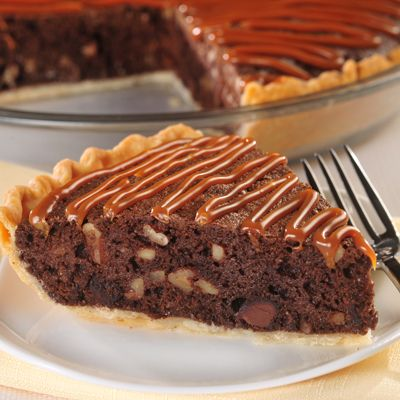 Pecan Brownie Pie with Caramel Drizzle | Recipe | Brownies, Caramel ...