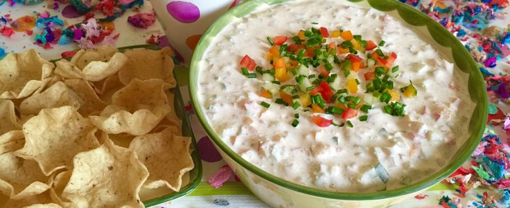 Sour Cream Dip, German party dip with step-by-step instructions for preparing and serving this Confetti dip at your next party. Very healthy.