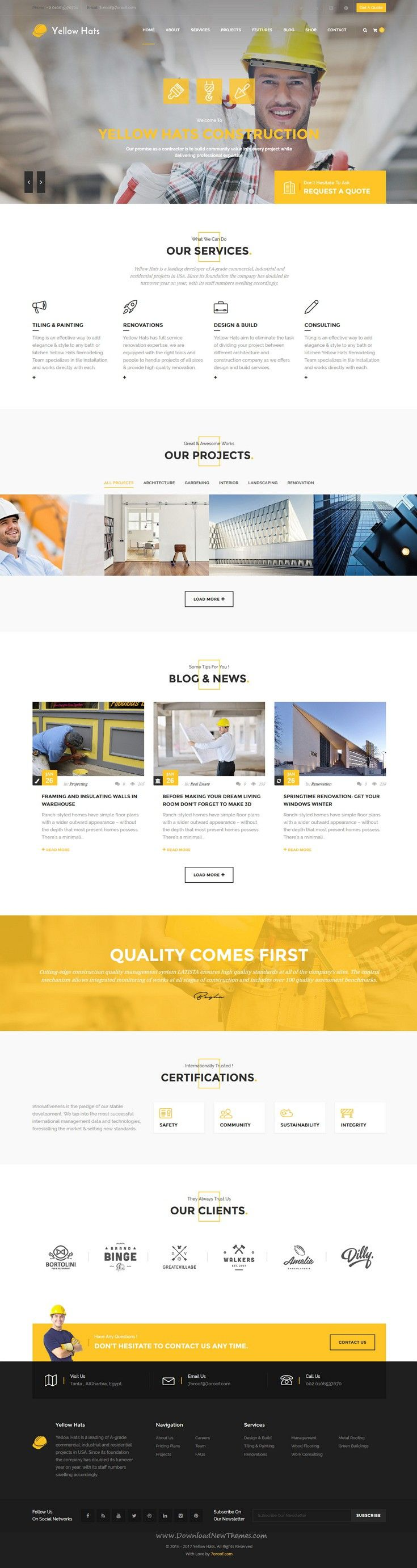 Yellow Hats is a stunning, professional and flexible #WordPress Theme based on Strong researches into the field of business, #Construction and Handyman Business #website. Download Now!