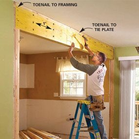 """How to install a Load Bearing Beam (DIY)   see...  We can totally tear down that little """"load-bearing wall"""""""