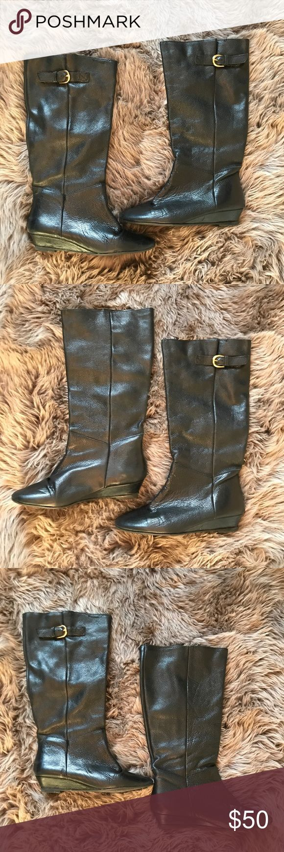 Steve Madden Intyce Leather Boots These Steve Madden Intyce Leather Boots are Black in color. Have slight wedge to heal. Perfect for Fall. Lightly used, in great condition. Size: 8 Steve Madden Shoes Heeled Boots