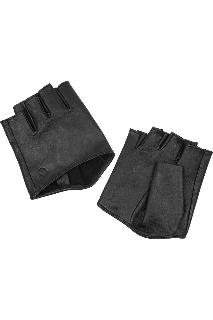 Black leather gloves brisbane - Karl Cutaway Leather Gloves 65