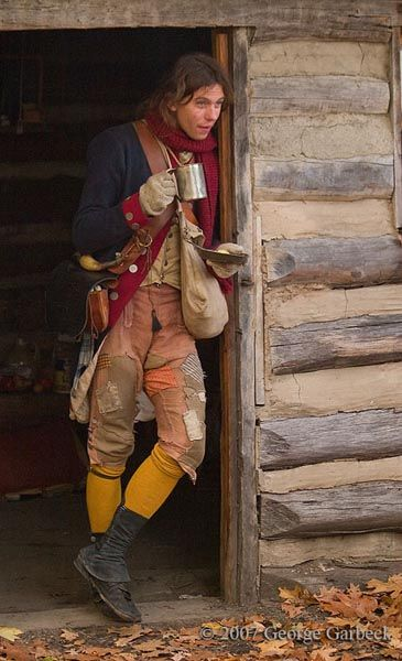 Continental Soldier Revolutionary War Reenactment November 17 2007. yellow stockings.