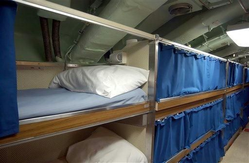 This is a view of the crew's sleeping quarters aboard the Seawolf class fast attack submarine Jimmy Carter at the U.S. Navy Submarine Base in Groton, Conn., Friday, Feb. 18, 2005. The Jimmy Carter, the last of the Seawolf class boats, is to be commissioned Saturday, Feb. 19, 2005. (AP Photo/Bob Child)