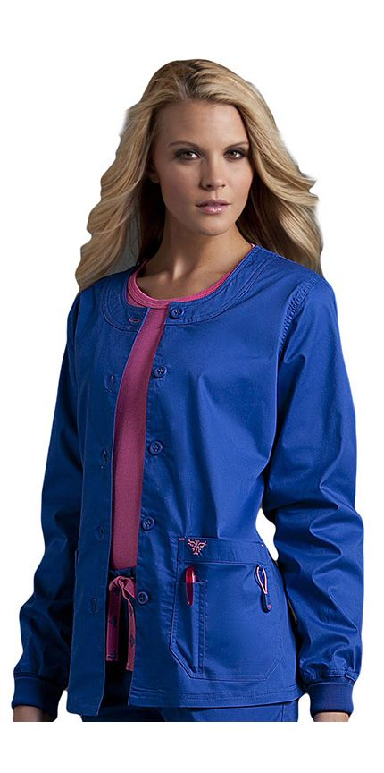 Med Couture Women's Solid Warm-Up Scrub Jacket - Color featured here: Royal with Passion Pink - 55% Cotton, 42% Polyester, 3% Spandex #Scrubs | allheart.com