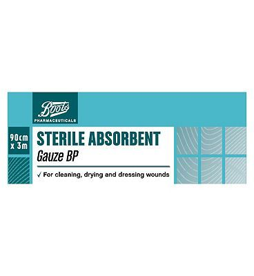 #Boots Pharmaceuticals Boots Sterile Absorbent Gauze BP (3m x 90cm) #16 Advantage card points. FREE Delivery on orders over 45 GBP. (Barcode EAN=5000167083095)
