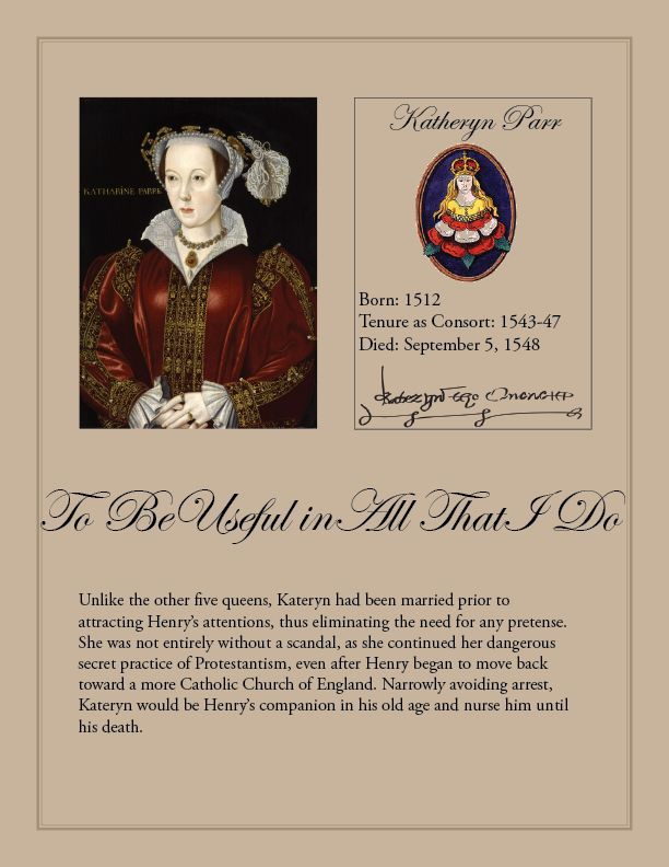 Kateryn Parr, sixth consort of King Henry VIII of England