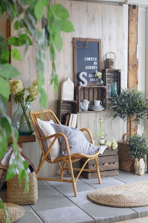 Bentwood chair, plants, and upcycled wooden crates.