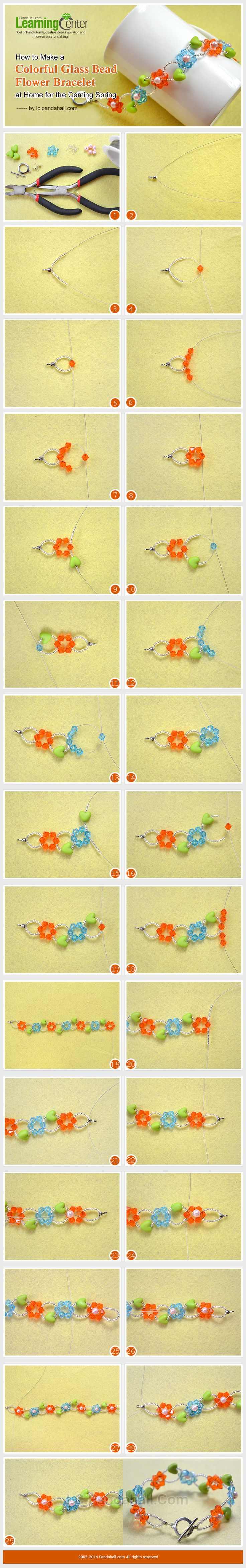 How to Make a Colorful Glass Bead Flower Bracelet at Home for the Coming Spring