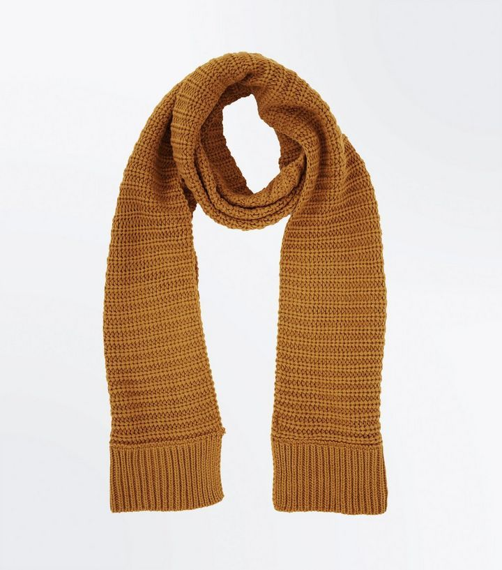Yellow Ribbed Knit Scarf | New Look