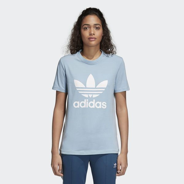 Parámetros lado masilla  New Adidas Womens Original Blue Gray White Logo Trefoil Tee T-Shirt Sz  Medium #adidas #TShirt #Summertime | Women, Adidas women, T shirts for women